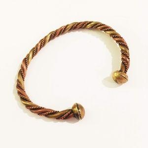 Open Cuff Twisted Metal Bracelet
